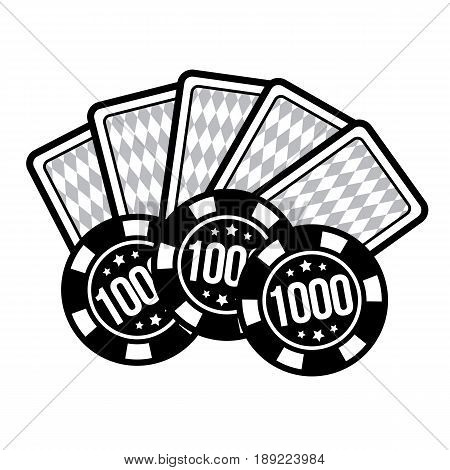 Set poker chips and poker cards for casino games. Casino card and casino chips on white background. Vector illustration