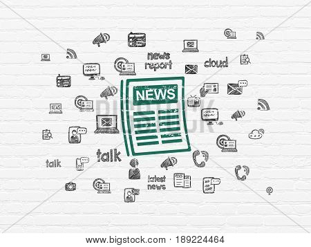 News concept: Painted green Newspaper icon on White Brick wall background with  Hand Drawn News Icons