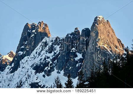 Mountain peaks with snow. Early Winter Spires. North Cascades National Park. Cascade Mountains. Seattle. Winthrop. Washington. United States.