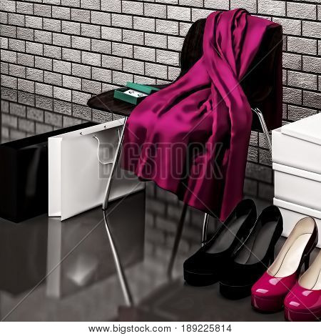 Close-up of the chair red scarf bag and shopping bags while shoes lying on the floor in front of a mirror. 3D illustration