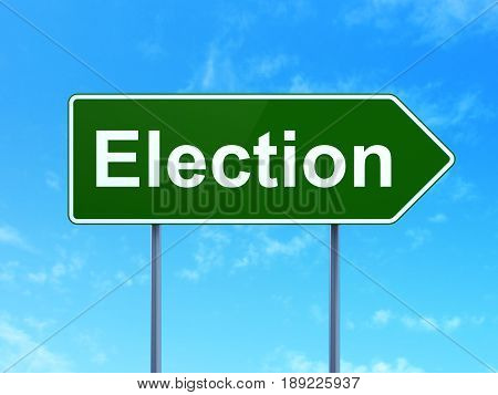 Politics concept: Election on green road highway sign, clear blue sky background, 3D rendering