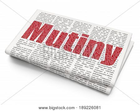 Political concept: Pixelated red text Mutiny on Newspaper background, 3D rendering