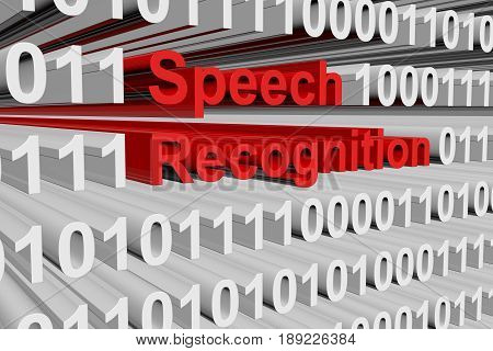 Speech recognition in the form of binary code, 3D illustration