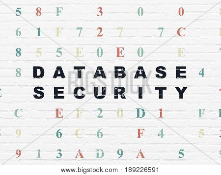 Database concept: Painted black text Database Security on White Brick wall background with Hexadecimal Code