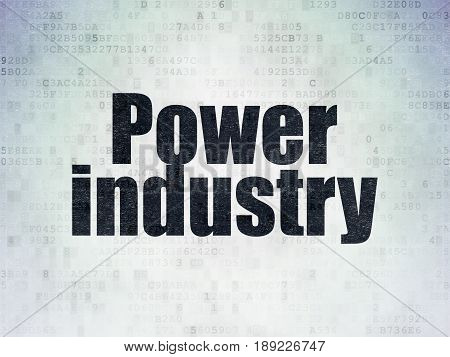 Industry concept: Painted black word Power Industry on Digital Data Paper background