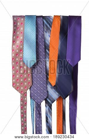 Several men silk tie on a white background