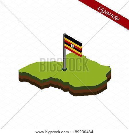 Uganda Isometric Map And Flag. Vector Illustration.