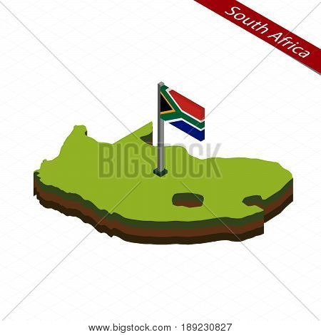 South Africa Isometric Map And Flag. Vector Illustration.