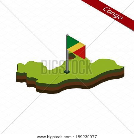 Congo Isometric Map And Flag. Vector Illustration.