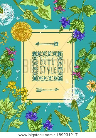 Hand drawn vector frame with wildflowers. Decorative floral illustration. Sketch style. Us for skrapbuking, tissue, textile, cloth, fabric, web material