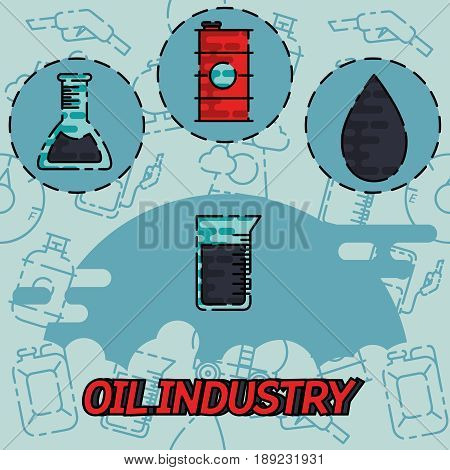Oil industry flat concept icons. Vector illustration, EPS 10