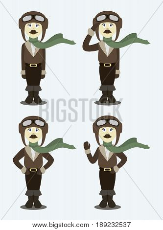 Pilot set in uniform flat design style, isolated on lighht background. Avatars pilot. Vector illustration.