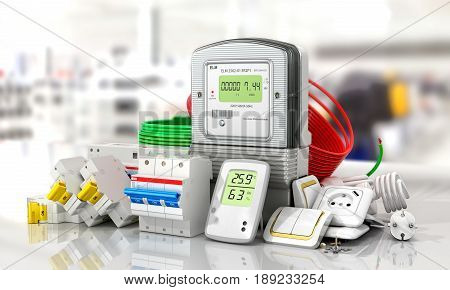 Various electric products on the store shelves. 3d illustration