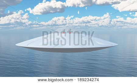 Computer generated 3D illustration with a flying saucer over the sea