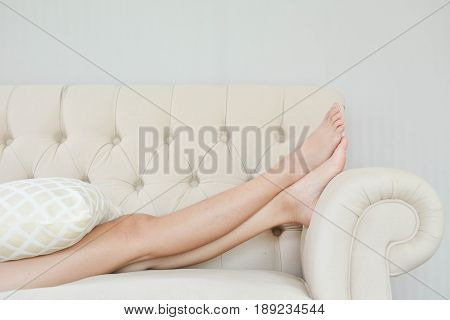 Beautiful young women sleeping in the room at home relax time on holiday