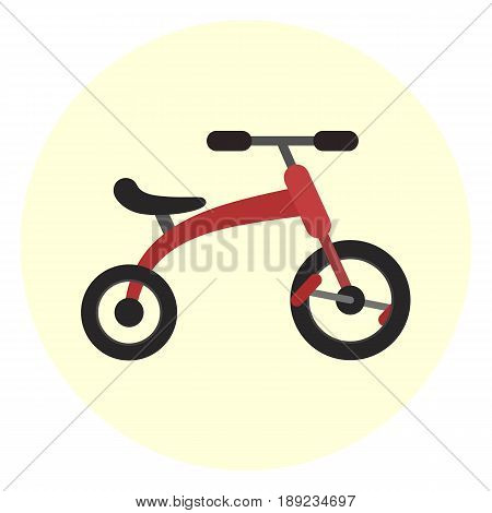 Flat red kids tricycle icon vector color childrens trensport symbol