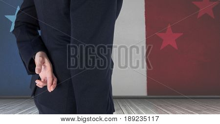 Digital composite of Midsection of business person crossing fingers against French flag