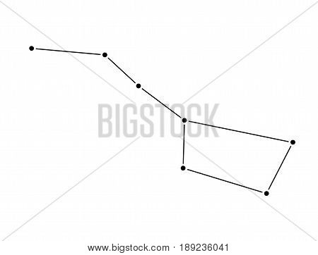 Big Dipper constellation isolated on white background. Ursa Major Vector Illustration