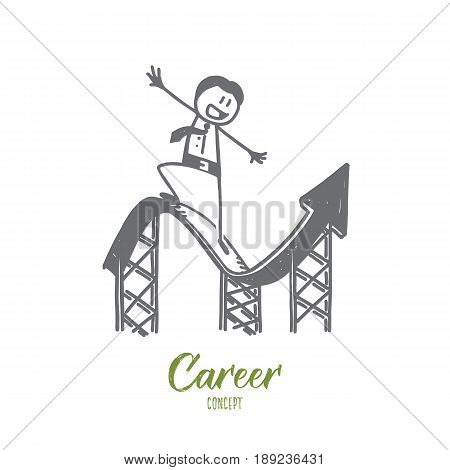Vector hand drawn Career concept sketch. Businessan smiling and balancing on curly index meaning development