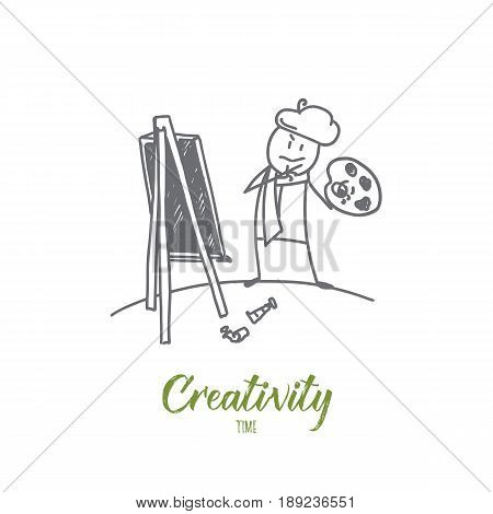 Vector hand drawn Creativity time concept sketch. Painter looking agaist his artwork and looking at it