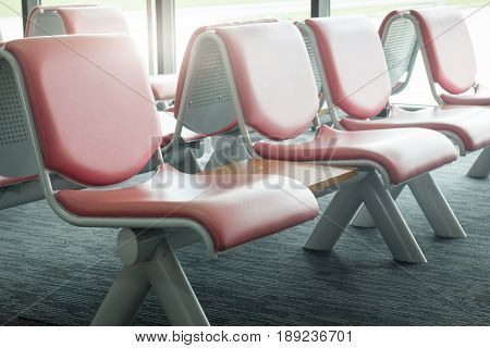 Airport Seats Available In Waiting Area stock photo