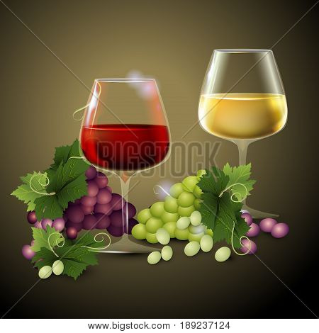 Wineglass of Red wine and dark grapes. Abstract background. Place for text. Vector illustration