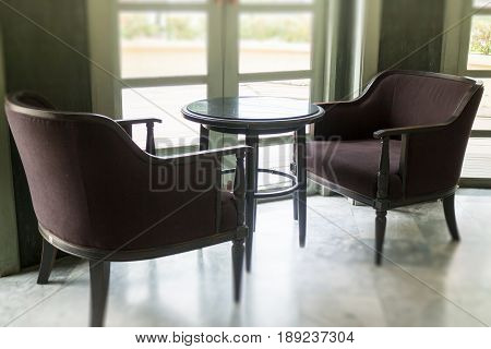 Retro Styled Sofa In Coffee Shop stock photo