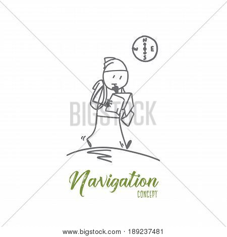 Vector hand drawn Navigation concept sketch. Tourist man with backpack and map walking alone