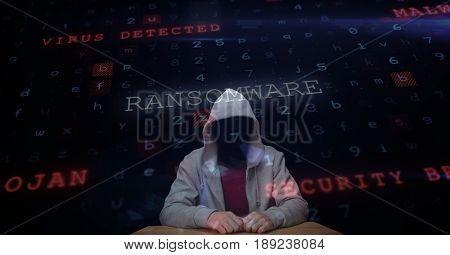 Digital composite of Digital composite image of hacker with screen