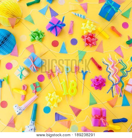 Colorful party props for a brthday party