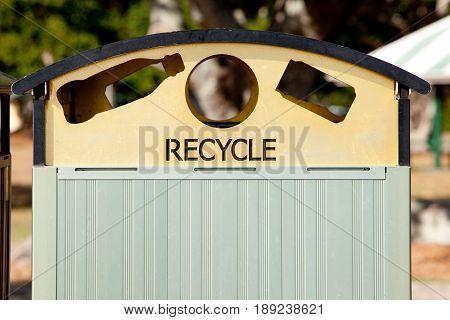 Metal Recycle Rubbish Bin in outdoor park