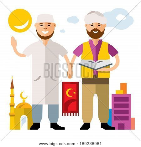 Imam with the Koran and a man holding hands. Isolated on a white background