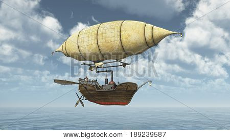 Computer generated 3D illustration with a fantasy airship over the sea