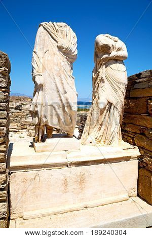 Archeology  In Delos Greece The Historycal Acropolis And Old Ruin Site