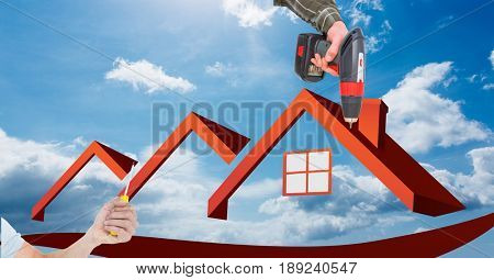 Digital composite of Hands using tools on house frame against sky