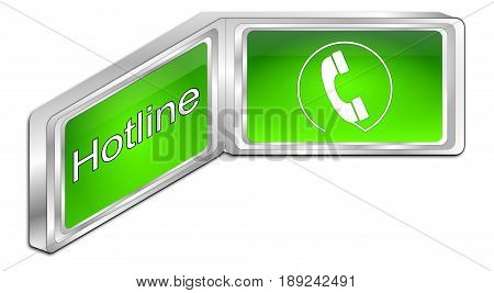 decorative green Hotline Button - 3D illustration