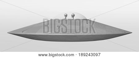 Computer generated 3D illustration with a flying saucer
