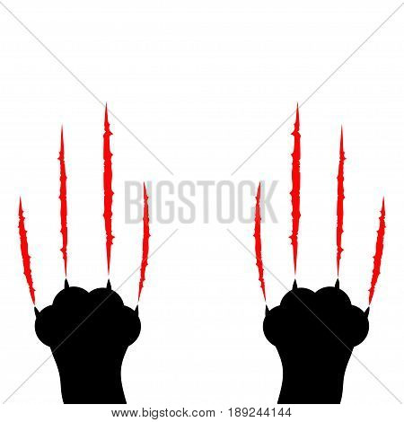 Black cat scratching. Two paw print leg foot. Bloody claws animal red scratch scrape track. Cute cartoon character Body part silhouette. Baby pet collection. Flat design. White background. Vector
