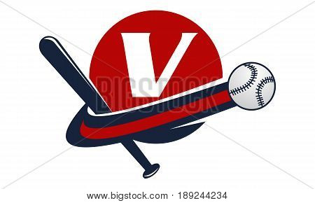 This image describe about Base Ball Letter V
