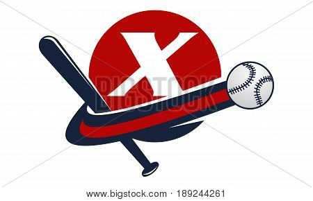 This image describe about Base Ball Letter X