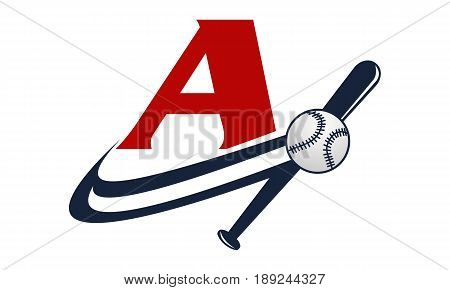 This image describe about Base Ball Letter A