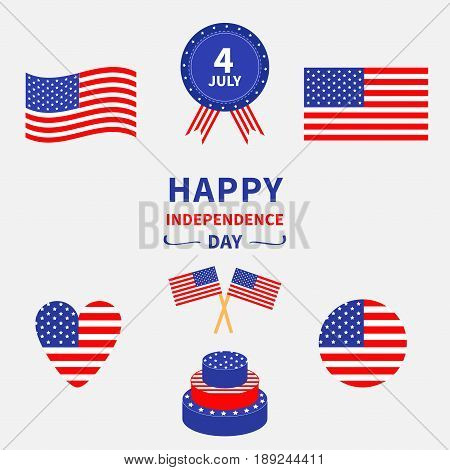 Happy independence day icon set. United states of America. 4th of July. Waving crossed american flag heart round shape cake badge with ribbons. White background. Greeting card. Flat design Vector