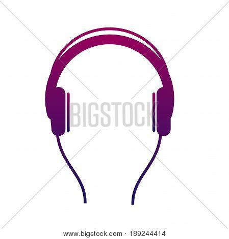 Earphone icon. Listen to stereo music with an audio player. Isolated