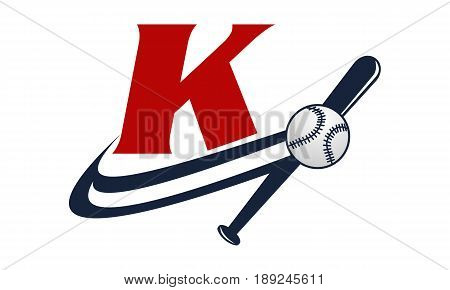 This image describe about Base Ball Letter K