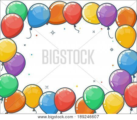 Colorful helium balloon frame. Flying latex balloons on white background. Vector flat illustration. Celebration poster