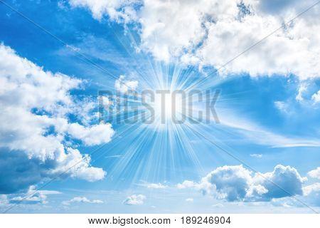 Sun With Sunrays Shining On Blue Sky
