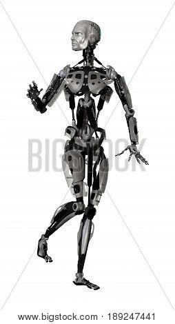 3D Rendering Male Cyborg On White