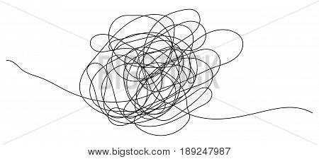 Hand drawn scribble object with start and end. Isolated scrawl sketch on white background
