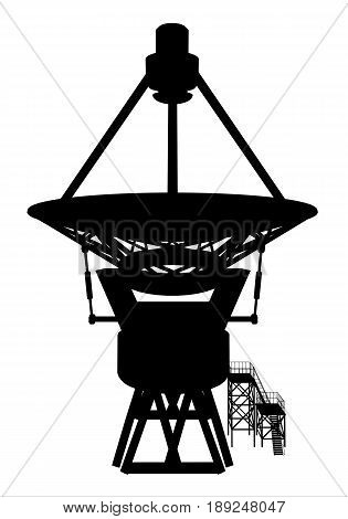 Computer generated 2D illustration with the silhouette of a giant telescope