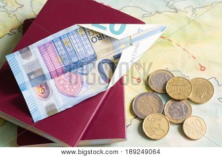 Low cost airlines with plane and euro money concept